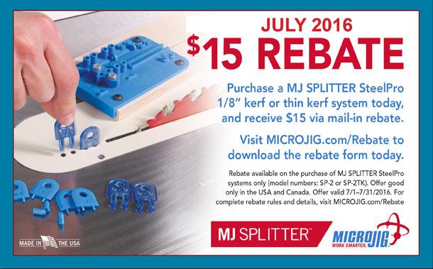 Microjig $15 Rebate