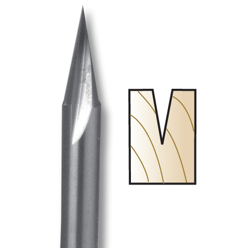 WHITESIDE #SC50 CARVING LINER BIT - 1/4 SH X 1/4 CD X 5/8 PL