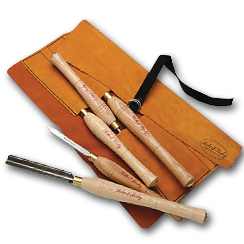 SORBY 5 PC  TURNING TOOL SET WITH LEATHER TOOL ROLL - #5HSLTR